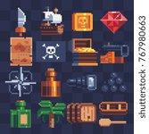 pixel art icons set. pirates... | Shutterstock .eps vector #767980663