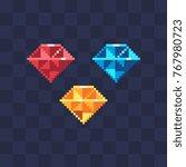 diamonds icons. pixel art style.... | Shutterstock .eps vector #767980723