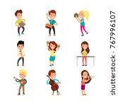 happy children musicians with... | Shutterstock .eps vector #767996107