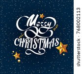 merry christmas vector text on... | Shutterstock .eps vector #768002113