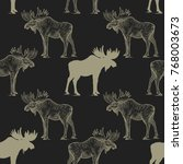 elk. seamless pattern with... | Shutterstock .eps vector #768003673