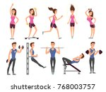 fitness people vector cartoon... | Shutterstock .eps vector #768003757