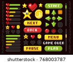 pixel game buttons  navigation... | Shutterstock .eps vector #768003787