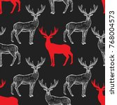 deer. seamless pattern with... | Shutterstock .eps vector #768004573