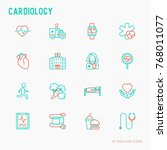 cardiology thin line icons set  ... | Shutterstock .eps vector #768011077