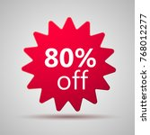80  offer discount label. sale... | Shutterstock .eps vector #768012277
