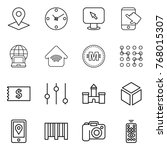 thin line icon set   pointer ... | Shutterstock .eps vector #768015307