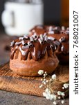 chocolate mini bundt cakes with ... | Shutterstock . vector #768021007