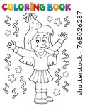 coloring book girl celebrating... | Shutterstock .eps vector #768026287