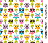 pattern with colorful funny... | Shutterstock . vector #768026923