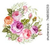 vintage flowers bouquet of... | Shutterstock . vector #768030253