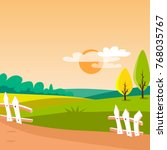 agriculture field  sunny rural... | Shutterstock .eps vector #768035767