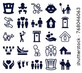 set of 25 family filled and... | Shutterstock .eps vector #768046063