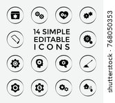 set of 14 gear filled icons... | Shutterstock .eps vector #768050353
