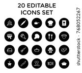 cook icons. set of 20 editable... | Shutterstock .eps vector #768052267
