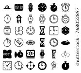 set of 36 watch filled and... | Shutterstock .eps vector #768052897