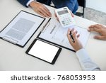 businessman being analysis and... | Shutterstock . vector #768053953