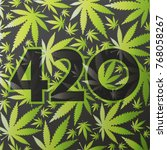 420 symbol with green cannabis...