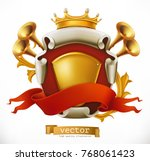 crown and shield. king. 3d... | Shutterstock .eps vector #768061423