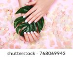 stylish trendy female pink and... | Shutterstock . vector #768069943