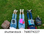 top view of group of students... | Shutterstock . vector #768074227