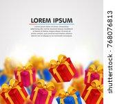 explosion of presents. light... | Shutterstock .eps vector #768076813