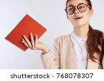 teacher with a notebook        ... | Shutterstock . vector #768078307