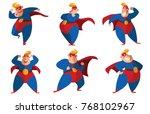 vector set of six cartoon... | Shutterstock .eps vector #768102967