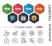 calendar  speech bubble and... | Shutterstock .eps vector #768108007
