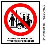 riding on forklift trucks is...   Shutterstock .eps vector #768109873