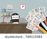 hands holds resume  cv form... | Shutterstock .eps vector #768113383