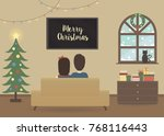 young couple watching tv in a... | Shutterstock .eps vector #768116443