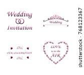 set of wedding invitation... | Shutterstock .eps vector #768123367
