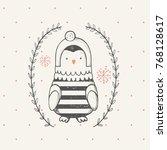 cute little penguin . cartoon... | Shutterstock .eps vector #768128617