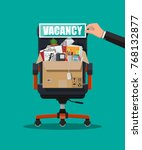 office chair  sign vacancy. box ...