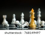gold king in chess game face... | Shutterstock . vector #768149497