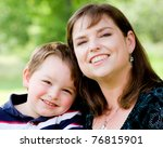 spring portrait of mother and... | Shutterstock . vector #76815901