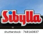 Small photo of KOPING, SWEDEN - SEPTEMBER 16, 2017: Sibylla fast food restaurant sign in Koping, Sweden
