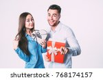 young beautiful couple with... | Shutterstock . vector #768174157