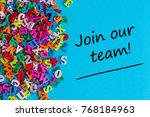 Small photo of JOIN OUR TEAM - message for hiring. We are looking for new employees. Find new job concept