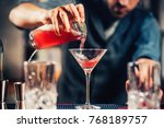 close up details of barman... | Shutterstock . vector #768189757