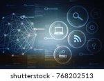2d illustration technology... | Shutterstock . vector #768202513