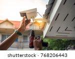 technician installing cctv...   Shutterstock . vector #768206443