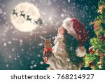 merry christmas  cute little... | Shutterstock . vector #768214927
