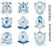 heraldic vector signs decorated ... | Shutterstock .eps vector #768224923