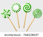 set of green christmas candy on ... | Shutterstock .eps vector #768228037