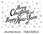 raster copy merry christmas and ... | Shutterstock . vector #768232813