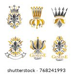royal symbols lily flowers ... | Shutterstock .eps vector #768241993