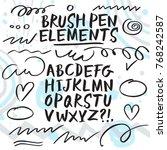 hand drawn brush pen... | Shutterstock .eps vector #768242587