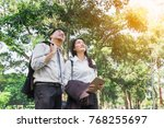 asian business man and woman... | Shutterstock . vector #768255697